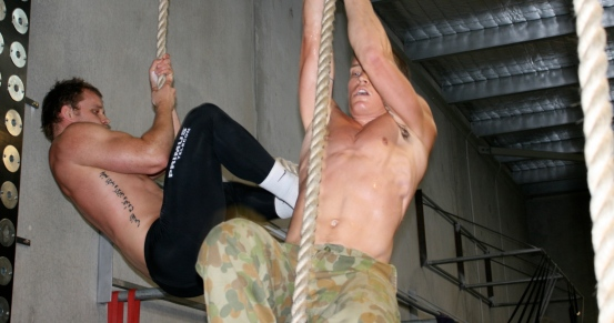 A couple of Cell firebreathers smashing the rope climb